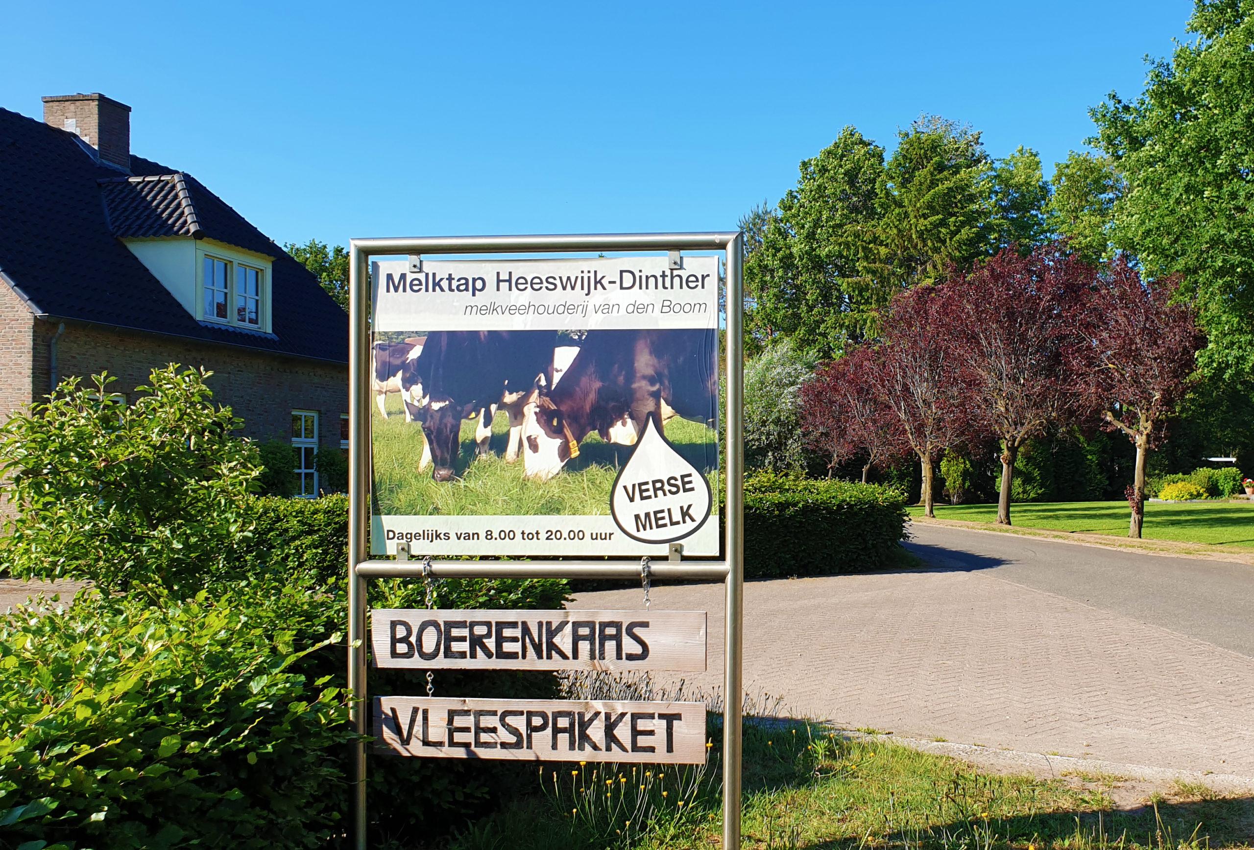 Ingang melktap Heeswijk dinther, verse melk en vers vlees voor weinig, eerlijk en gezond